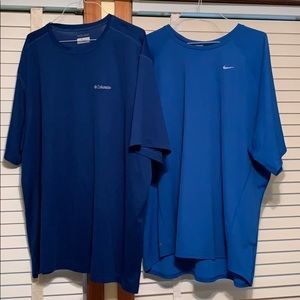 Men's Columbia and Nike shirts size 4XT and 4XL